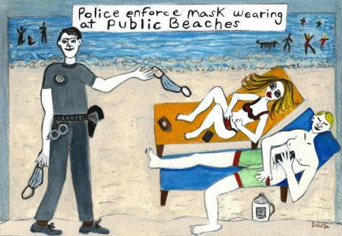 Police Enforce Mask Wearing at Public Beach