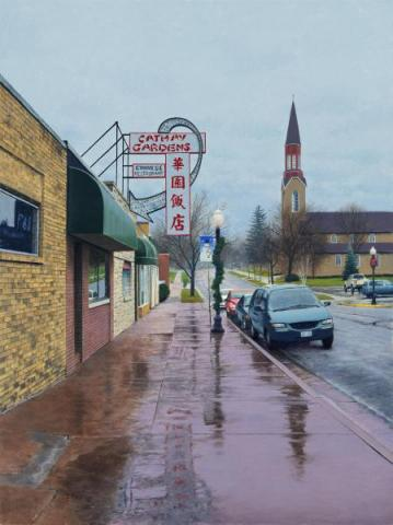 Rainy Portage Street Scene