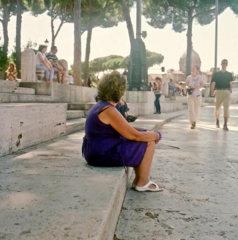 Woman Sat in Rome, Italy